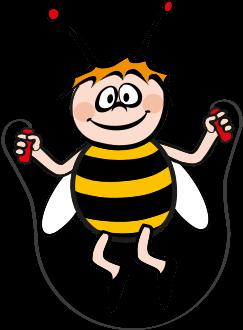 Biene Maja aktiv mit Hupfseil